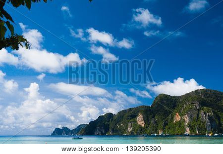 Lagoon Mountains Blue Seascape