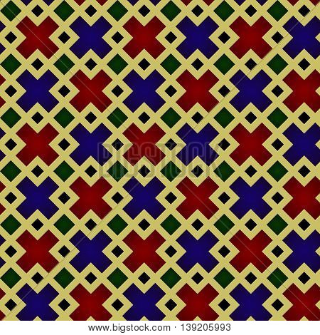 Seamless Pattern, Medieval Stained-glass Window Style