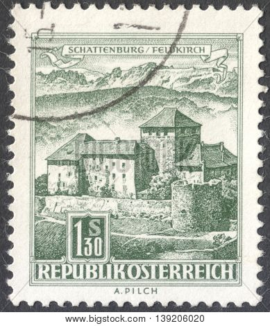 MOSCOW RUSSIA - CIRCA JANUARY 2016: a post stamp printed in AUSTRIA shows Schatten Castle Feldkirch Vorarlberg the series