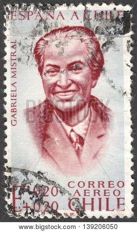 MOSCOW RUSSIA - JANUARY 2016: a post stamp printed in CHILE shows a portrait of Gabriela Mistral the series