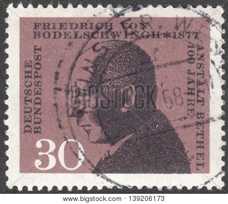 MOSCOW RUSSIA - CIRCA JANUARY 2016: a stamp printed in GERMANY shows a portrait of Friedrich von Bodelschwingh circa 1967