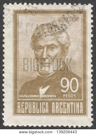 MOSCOW RUSSIA - JANUARY 2016: a post stamp printed in ARGENTINA shows a portrait of Admiral Guillermo Brown the series