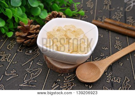 Chinese herbal drugs of resin sugar on the table