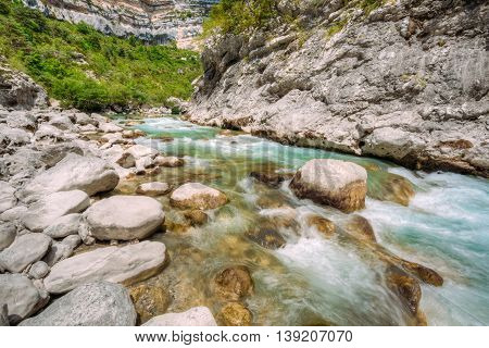 Mountain River. Scenic View Of Verdon River In France. Landscape, Long Exposure. Nobody
