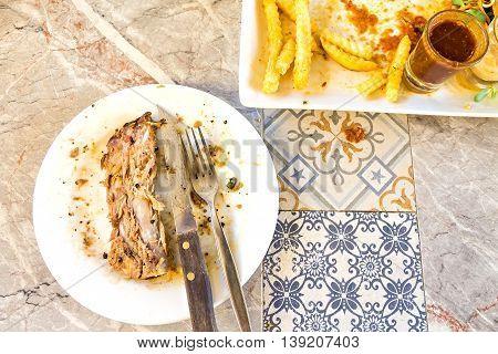 Dirty And Empty Steak Dish With Rib Bone