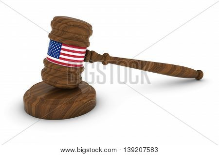 United States Law Concept - Us Flag Judge's Gavel 3D Illustration