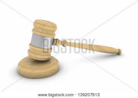 Light Wooden Judge's Gavel And Sound Block 3D Illustration