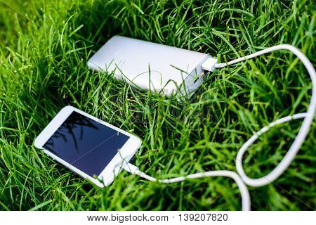 Powerbank Charging White Smartphone