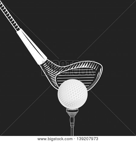 Golf design vector illustration. Golf club close up - on black background. Vector golf club with ball. Cropped placing golf ball