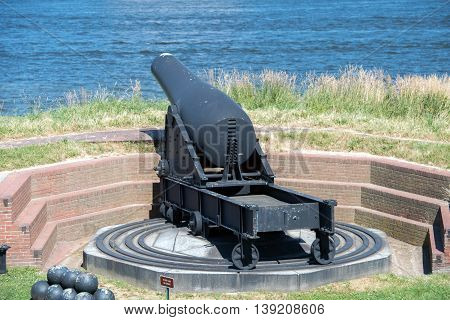 Cannon At Fort Mchenry Baltimore Usa Flag