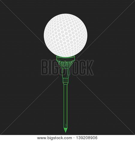 Golf ball on tee realistic vector illustration. Vector golf ball on black. Golf tee of Engraving style with ball