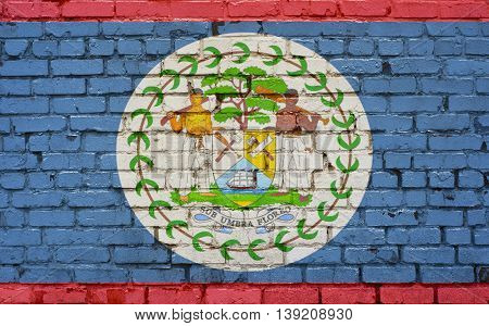 Flag of Belize painted on brick wall background texture