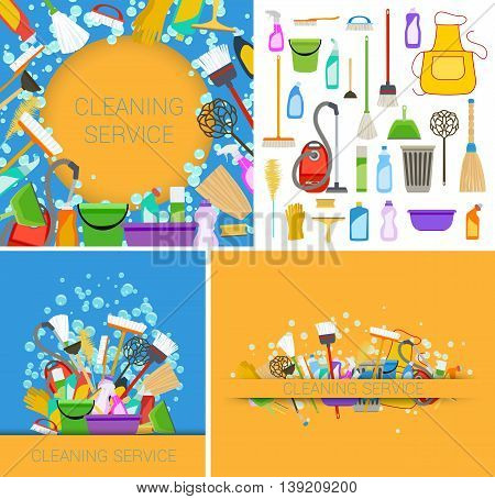 set of cleaning service backgrounds. vector illustration