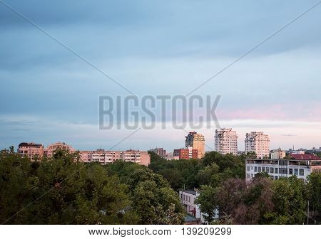 View on coliseum crown plaza at sunset in Chisinau city downtown Moldova