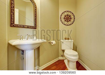 Bathroom Interior With Beige Walls, Hardwood Floor