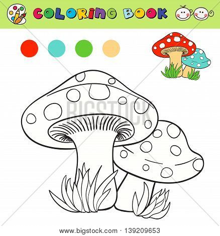 coloring book page template with mushrooms in grass color samples. vector illustraton