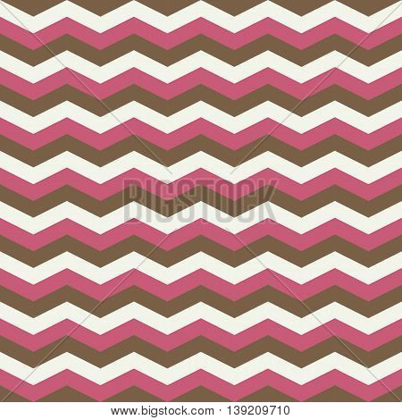 Pink and brown chevron zig zag seamless pattern