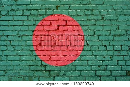 Flag of Bangladesh painted on brick wall background texture