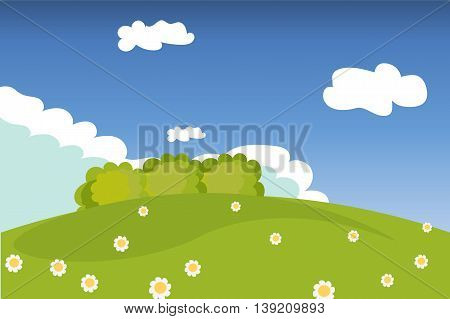 Landscape, nature, meadow, hill, shrub, flowers, field, countryside, green, vector