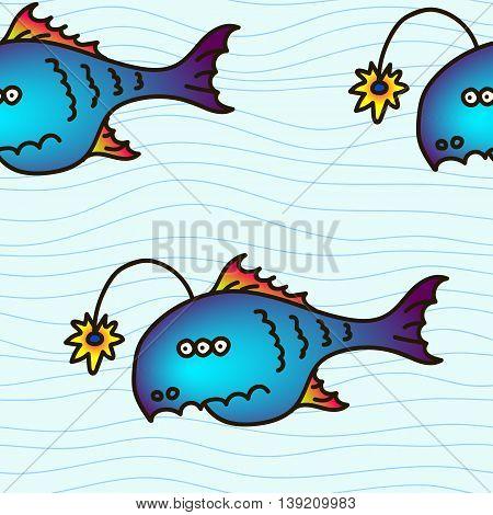 Cartoon party anglefish vector illustration. Mariana trench inhabitant