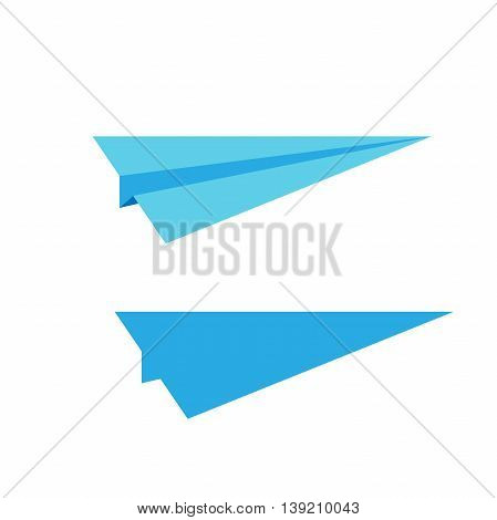 airplane symbol. Flat style paper airplane icon. Two blue sign of airplane. Vector airplane. Airplane on white background. Simple icon plane design