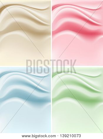 soft creamy backgrounds set with color variations. vector illustration