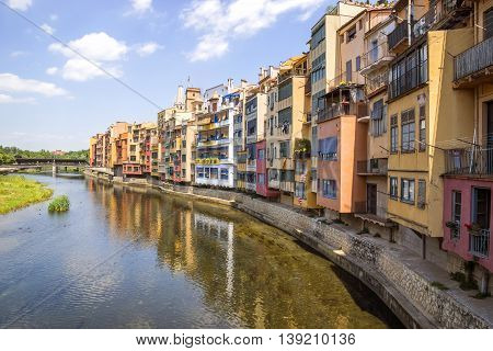 Colorful houses against blue sky in Girona Catalonia Spain