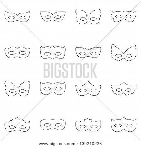 Set of carnival masks on white background, vector illustration