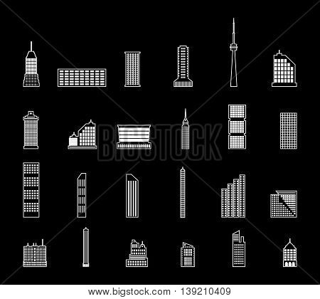 Set of various city buildings. residential and office buildings, television tower. vector illustration in flat style isolated on black background
