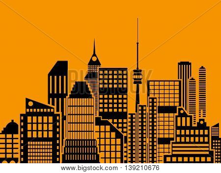 Modern City View. Cityscape with office and residental buildings, television tower, orange and black color. vector illustration in flat style