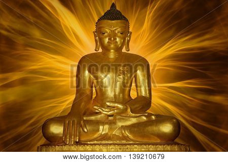Golden Buddha image surrounded by energy beams