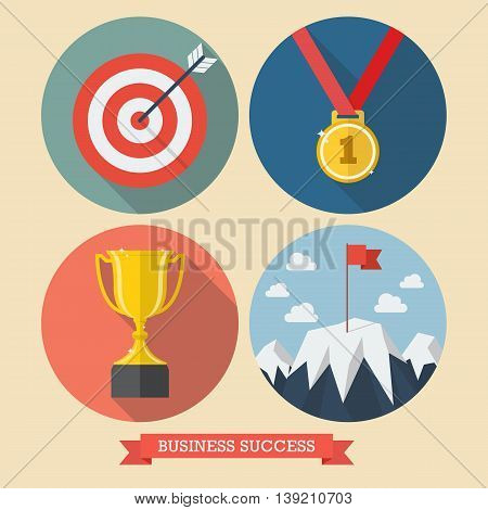 Business success flat style icons. Vector illustration