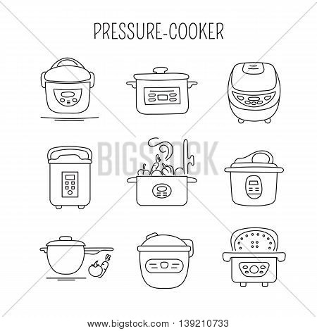 Hand drawn thin line icons set, vector illustration. Pressure cookers. Isolated symbols. Black on white pictograms. Simple mono linear modern design.