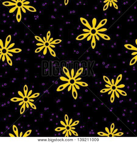 Yellow splash flowers with purple drops seamless texture