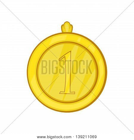 Gold first place medal icon in cartoon style on a white background