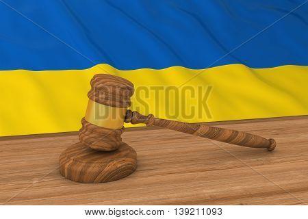 Ukrainian Law Concept - Flag Of Ukraine Behind Judge's Gavel 3D Illustration