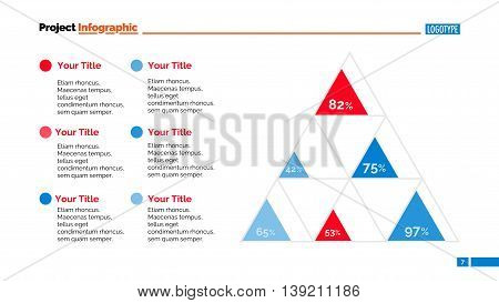 Percentage chart slide template. Business data. Graph, diagram, design. Creative concept for infographic, templates, presentation, report. Can be used for topics like analysis, statistics, finance.