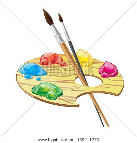 wooden art palette with brushes and paints isolated on white background vector illustration. Colored oily paints, artist attribute