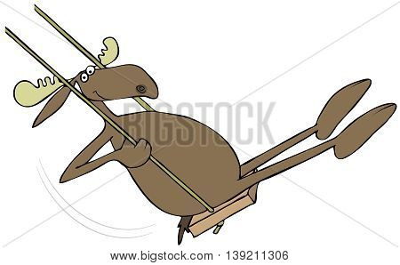Illustration of a bull moose on a wooden swing.