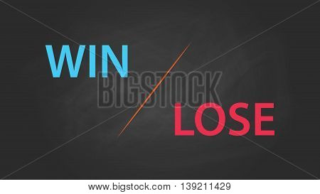 win or lose solution concept written on the text with blackboard and chalk effect vector graphic illustration