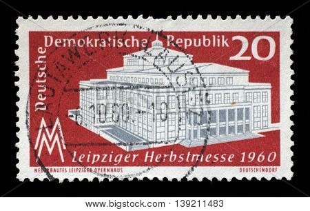 ZAGREB, CROATIA - JULY 02: a stamp printed in GDR shows Leipzig autumn Fair, circa 1960, on July 02, 2014, Zagreb, Croatia