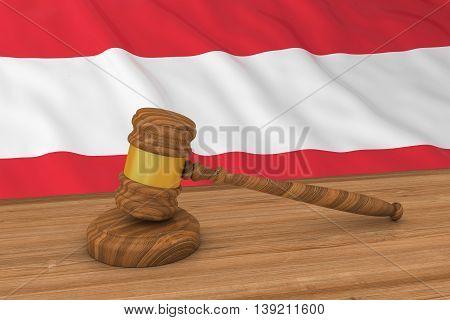 Austrian Law Concept - Flag Of Austria Behind Judge's Gavel 3D Illustration