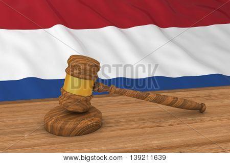 Dutch Law Concept - Flag Of The Netherlands Behind Judge's Gavel 3D Illustration
