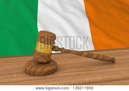Irish Law Concept - Flag Of Ireland Behind Judge's Gavel 3D Illustration