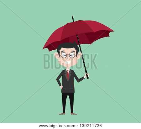 insurance concept sign symbol with businessman using suit with umbrella to protection vector graphic illustration