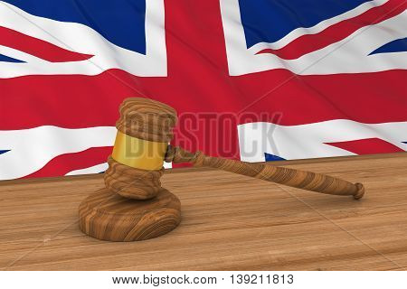 British Law Concept - Flag Of The United Kingdom Behind Judge's Gavel 3D Illustration