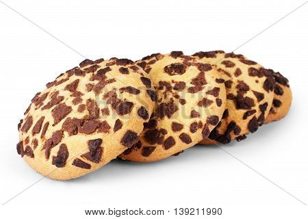 Chocolate chip cookie on white cookie, chip, biscuit, white