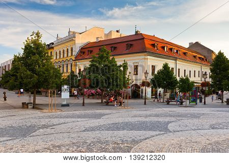 NITRA, SLOVAKIA - JULY 02, 2016: Square in the old town of Nitra on July 02, 2016.
