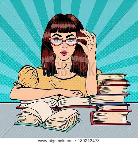 Pretty Female Student Reading Books in Library. Pop Art. Vector illustration