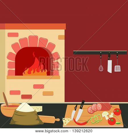 Commercial Kitchen Interior with Bake and Cutlery. Vector Background